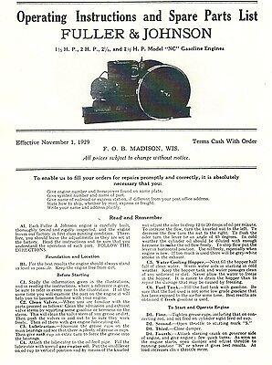 Fuller Johnson Nc 1.5-2.5 Hp Gas Engine Motor Instruction Manual Parts List