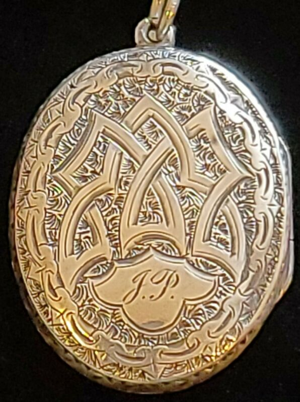 "Antique Georgian Silver Engraved Locket Monogram ""JP"""