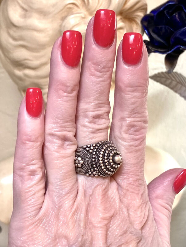Wonderful Antique Ottoman Silver Metal Beaded Dome Ring, Size 6