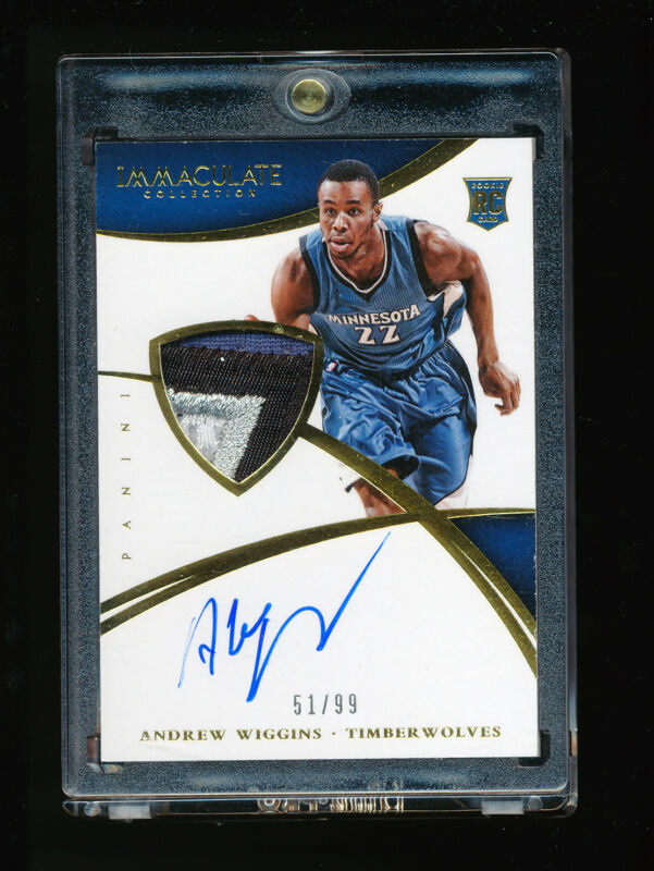 Andrew Wiggins 2014-15 Panini Immaculate Timberwolves 4 Color Patch Auto Rc #/99