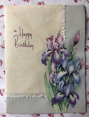 Vintage 1940s Silvered Birthday Greeting Card Purple Irises