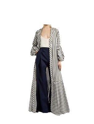 Johanna Ortiz Ruched-Sleeve Striped Stretch Cotton Coat