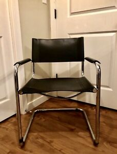 Mid Century Style Black Leather & Chrome Cantilever Chair