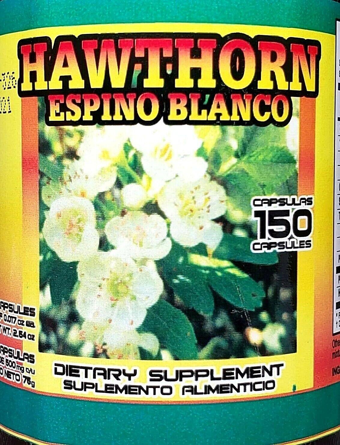 (3 Packs) ESPINO BLANCO HAWTHORN 450 CAPSULES 500MG EACH HEART PLANT Exp 06/2021 3