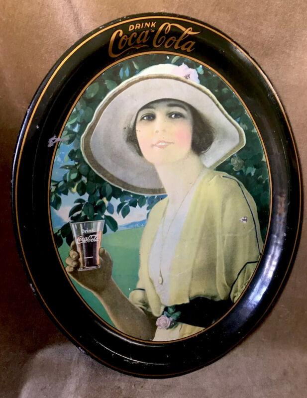 "1920 COCA COLA COKE Serving TRAY ""GOLFER GIRL"" ORIGINAL 16.5""x13.5"""