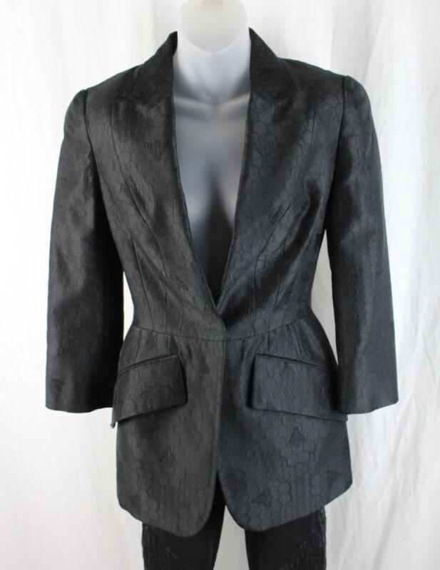 Alexander McQueen Black Honey Comb Bee Print 3/4 Sleeve Blazer Jacket 40 6