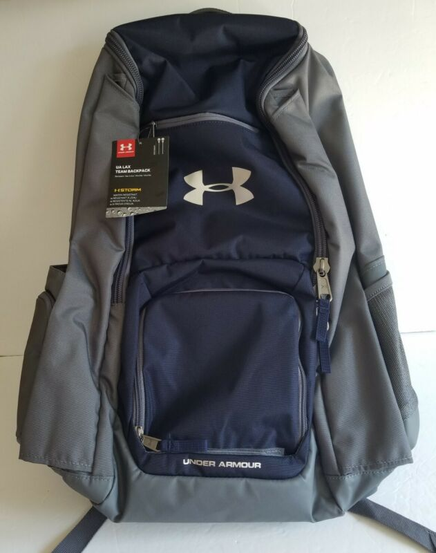 Under Armour UA LAX Lacrosse Team 42 L Storm NEW w/Tags Gray Navy Blue Backpack