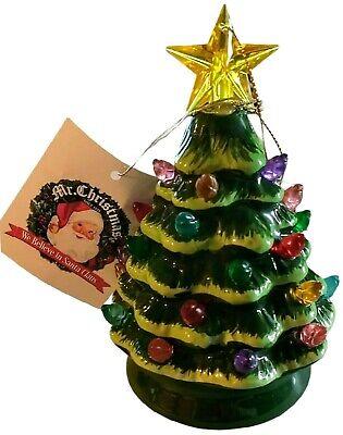 "MR CHRISTMAS Mini Nostalgic Ceramic Tree NEW Vintage-Style Light Up 5"" Ornament"