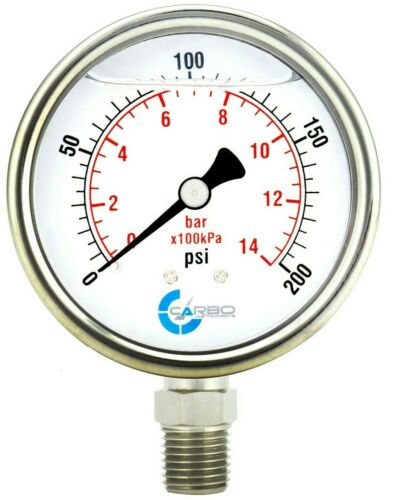 "2-1/2"" Pressure Gauge, ALL STAINLESS STEEL, Liquid Filled, Lower Mnt, 200 Psi"