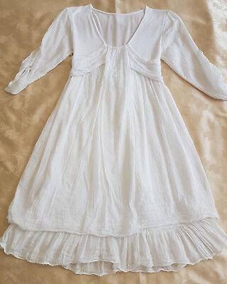 """Gebraucht, Seiden-Baumwollkleid weiß """"Made in Italy"""" in ca. Größe 32 gebraucht kaufen  Mainz"""