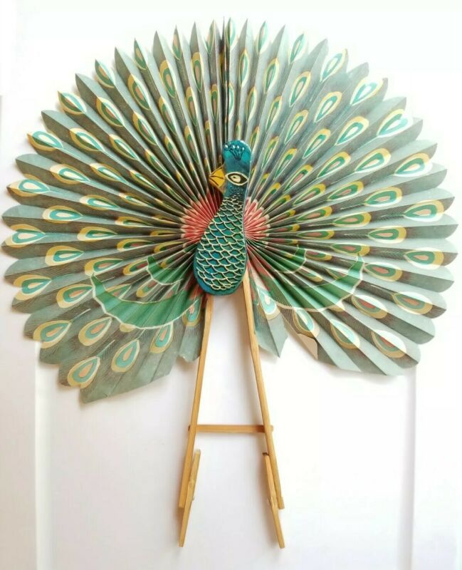 VINTAGE | Chinese Peacock Fan Paper & Wooden Fan Decorative Color Wall Hanging