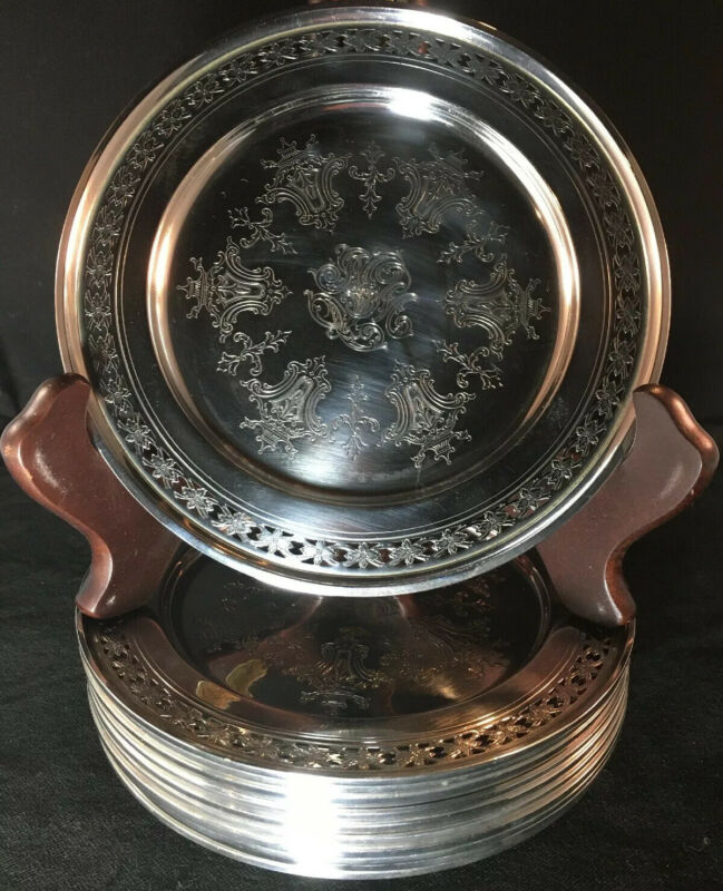 Set Of 12 Etched And Pierced Towle Sterling Silver Bread Plates # 5433