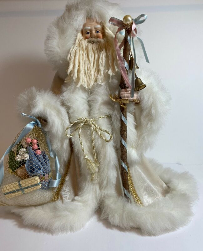 """Vintage Victorian Robed Father Christmas Tree Topper Gold White Pastels 17"""" T"""