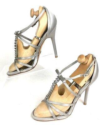Badgley Mischka Silver Gray Satin Jeweled Strappy Stiletto Heel Sandal Women's 6 Jeweled Stiletto