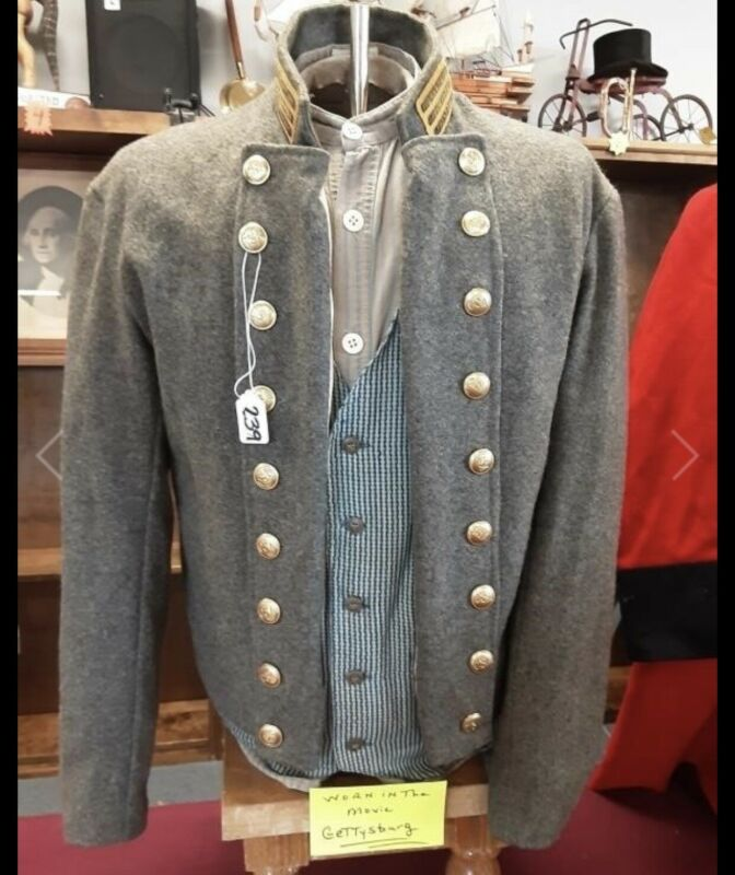 Civil War Confederate Jacket Coat Shirt & Vest WORN IN MOVIE GETTYSBURG