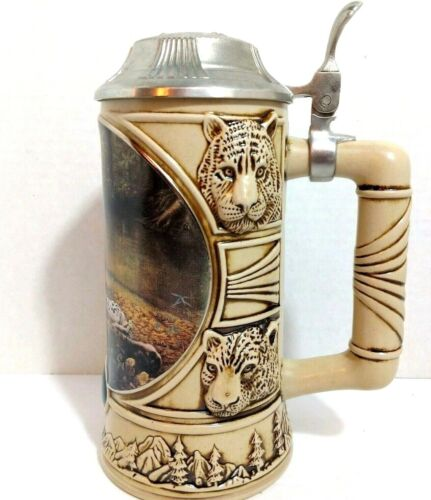 Charles Frace Jaguar Collectible Beer Mug Stein Noble Confines With Pewter Lid