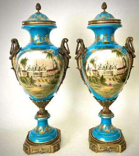 Pair of Vintage Large Sevres Style Gilt Bronze Mounted Bleu Celeste Covered Urns