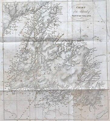 Original Chart of NEWFOUNDLAND c1801 engraved folding map