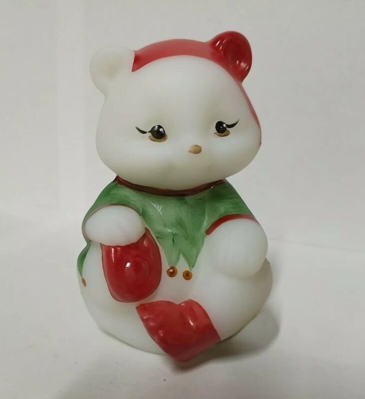 Fenton Glass White Satin Bear Hand Painted Christmas Elf Limited Only 350 Made