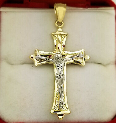 Mens 10k Two Tone Gold Cross Pendant Diamond Cut Gold Crucifix Charm
