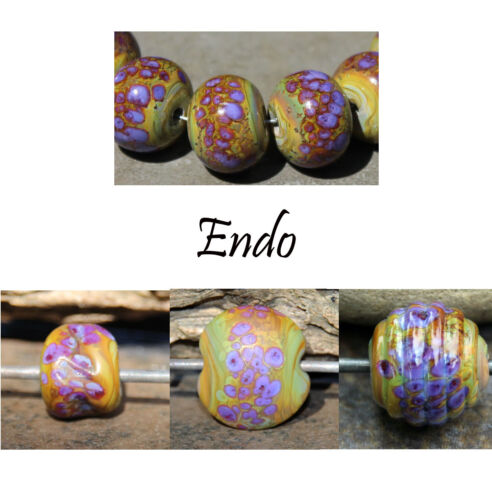 Endo -  Handmade Glass Lampwork Round Beads SRA MTO - Choose etched or glossy
