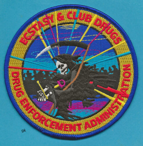 ECSTASY  CLUB DRUGS DEA  DRUG ENFORCEMENT ADMINISTRATION POLICE SHOULDER PATCH