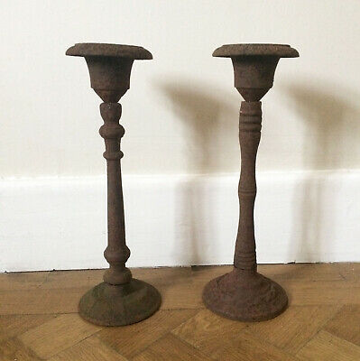 2 x Antique Rustic French Urns Cast Iron Decorative Floral Display Table Centre