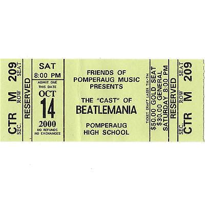 BEATLEMANIA Cast Concert Ticket Stub SOUTHBURY CT 10/14/00 BEATLES TRIBUTE