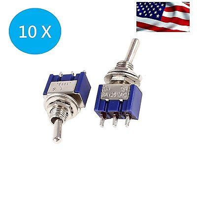 US 10 x Mini 6A 125V AC SPDT MTS-102 3Pin 2 Position On-on Toggle Switch Practic