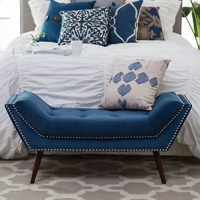 Bed Bench Upholstered Seat End Foot Tufted Button Nailhead Bedroom Entryway Blue ()