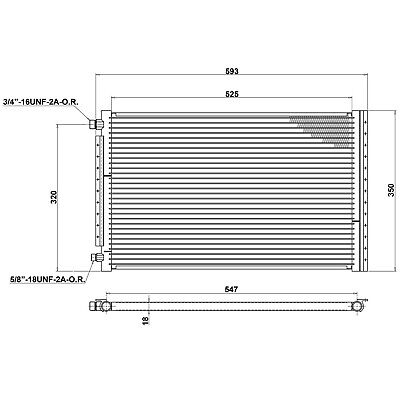 Universal Air Conditioning Condenser Radiator 593 x 350mm   AC AirCon