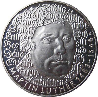 J434  5 DM Gedenkmünze Martin Luther 1983 in PP offen