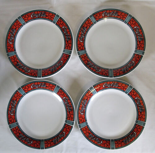 """4 Gibson Coca Cola Dinner Plates 10 1/2"""" Stained Glass Mosaic Red & Green 1996"""