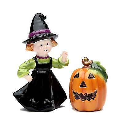 Halloween Pumpkin and Witch Salt and Pepper Shaker Set, 2-1/4-Inch