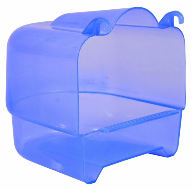 Large Blue Plastic Attachable Bird Bath For Budgie Canary Finch 15 × 16 × 17 cm