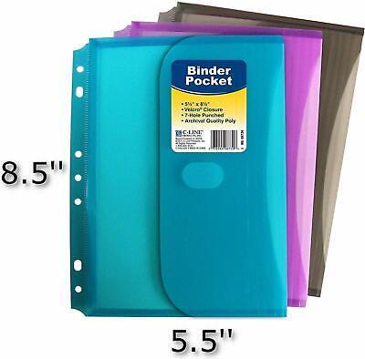 C-line 08730 Super Heavyweight Poly Mini Size Binder Pocket 5.5 X 8.5 - 3 Each