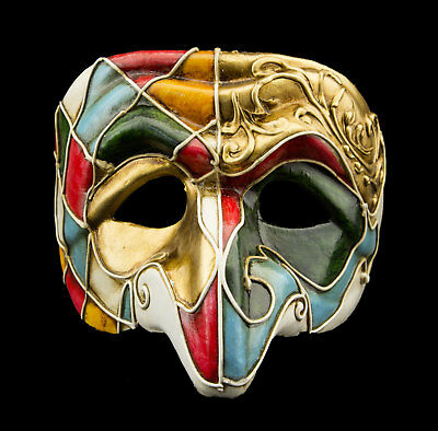 Mask from Venice Polichinelle Blue Golden Nose Paper Mache for Man Luxury 22350