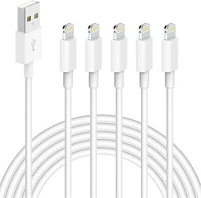 iPhone Charger Lightning MFi Certified to USB Cable, 6FT 5PACK High Speed...