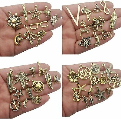 Gold Jewelry Making Supplies (10 Assorted Charms Antique Gold Tone Mixed Pendants Jewelry Making)