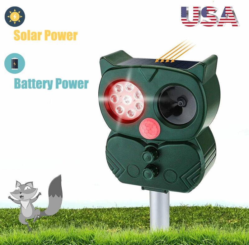 Solar Powered Cat Fox Animal Scarer Ultrasonic Repellent Alarm Deterrent Motion