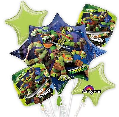 Ninja Turtle 5 Birthday Mylar Bouquet Balloons Party Decoration Set](Ninja Turtle Birthday Party)