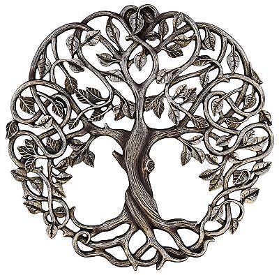 Metal Tree of Life Wall Art Plaque Sculpture Round Hanging Leaves Roots Rustic