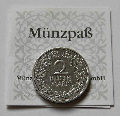 WEIMAR: 2 Reichsmark 1926 A, J. 320, sehr schön !!!  ZERTIFIKAT !!!