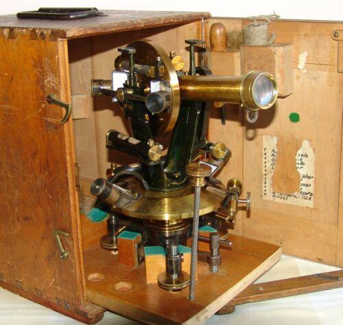 VINTAGE MAX HILDEBRAND AUGUST LINGKE FREIBERG THEODOLITE WITH WOODEN BOX 1900