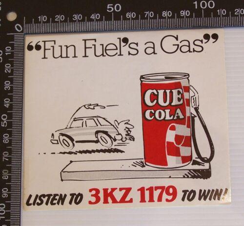 VINTAGE 3KZ 1179 CUE COLA AUSTRALIA MELBOURNE RADIO ADVERTISING PROMO STICKER