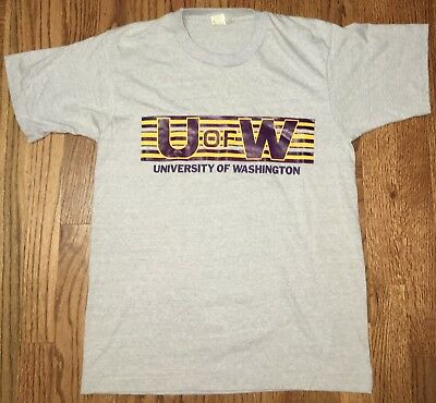 Washington Huskies U of W Football 80s Screen Stars Vintage Gray Shirt Medium - U Of Washington Football