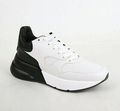 $790 Alexander McQueen Men's White/Black Leather Platform Sneaker 41 535530 9034