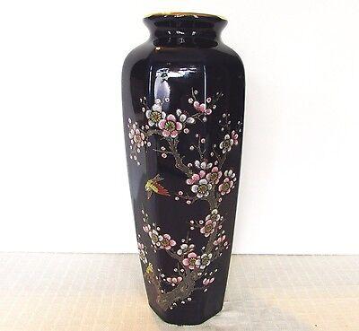 Vintage Cobalt Blue Vase, Sparrow and Prunus Pattern ~ Japan