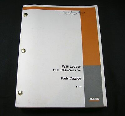 Case W36 Loader Tractor Parts Manual Catalog Book List Guide Oem