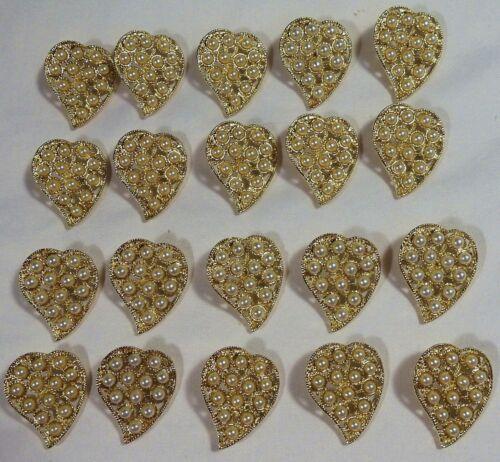 "20 Vtg JHB International Gold Metal Novelty Pearl Enchanted Heart BUTTONS 1 1/4"""